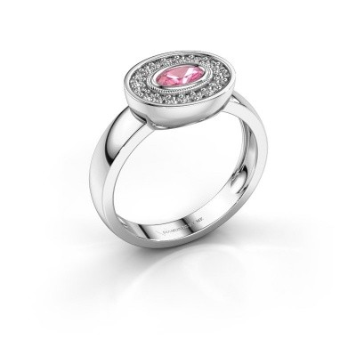 Ring Azra 585 white gold pink sapphire 5x3 mm