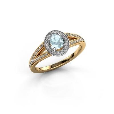 Verlovings ring Angelita OVL 585 goud aquamarijn 6x4 mm