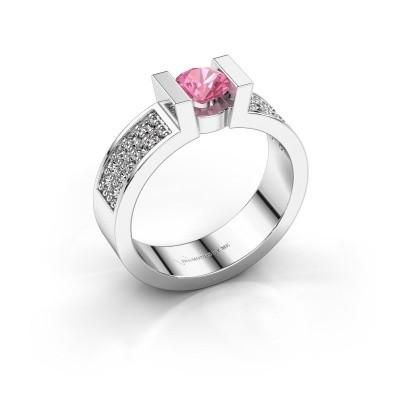 Verlovingsring Lieve 3 585 witgoud roze saffier 5 mm