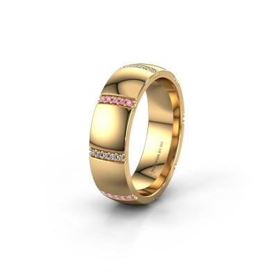 Wedding ring WH2124L26B 375 gold pink sapphire ±6x2 mm