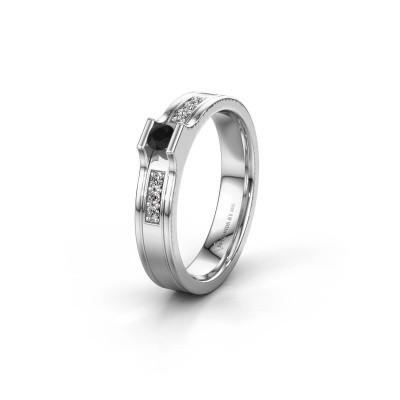 Trouwring WH2110L14A 950 platina zwarte diamant ±4x1.7 mm