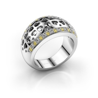 Ring Tirza 585 witgoud gele saffier 1.3 mm