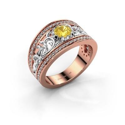 Ring Marilee 585 rosé goud gele saffier 5 mm