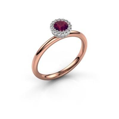 Verlovingsring Queen 585 rosé goud rhodoliet 4.2 mm