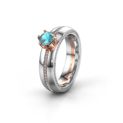 Weddings ring WH0416L25E 585 rose gold blue topaz ±0.20x0.1in