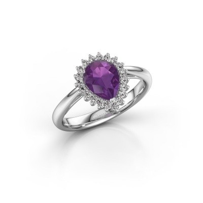 Engagement ring Tilly per 1 585 white gold amethyst 8x6 mm
