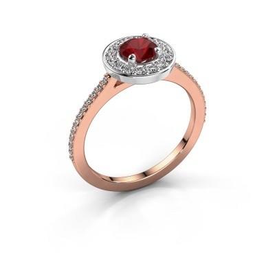 Foto van Ring Agaat 2 585 rosé goud robijn 5 mm