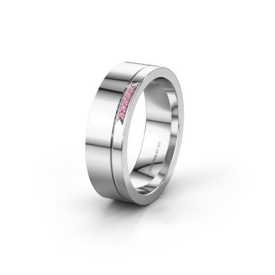 Weddings ring WH0336L16A 950 platinum pink sapphire ±6x1.7 mm