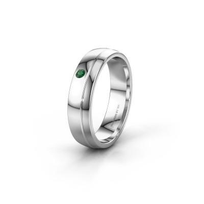 Trouwring WH0301L25AP 585 witgoud smaragd ±5x1.7 mm