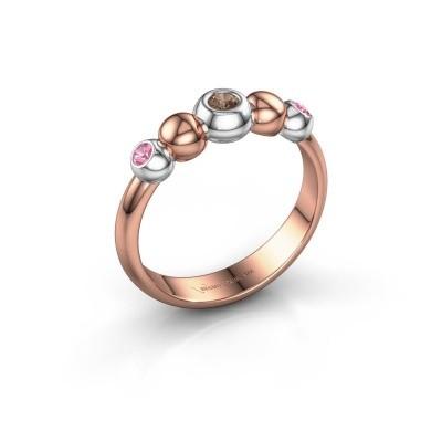 Bague superposable Lily 585 or rose diamant brun 0.06 crt