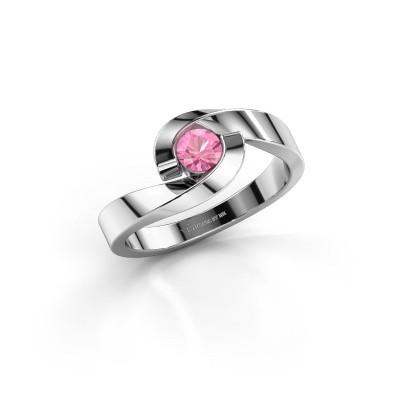Foto van Ring Sheryl 925 zilver roze saffier 4 mm