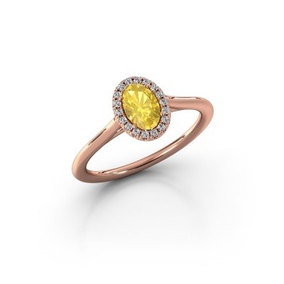 Engagement ring Seline 1 585 rose gold yellow sapphire 6x4 mm