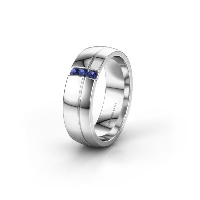 Wedding ring WH0223L56A 585 white gold sapphire ±6x1.7 mm