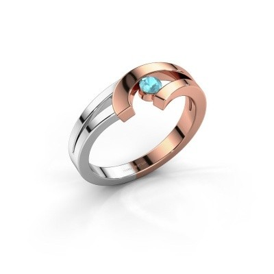 Ring Yentl 585 rosé goud blauw topaas 3 mm