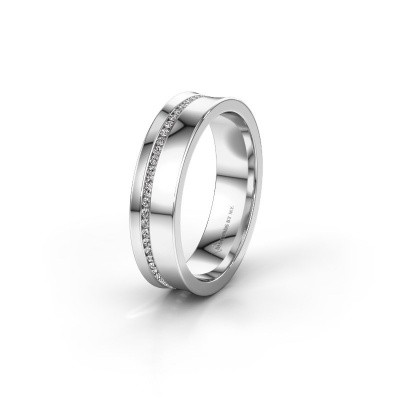 Wedding ring WH6090L55A 585 white gold zirconia ±0.20x0.07 in