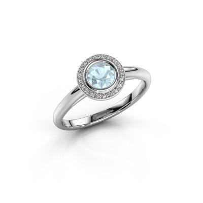 Promise ring Noud 1 RND 950 platina aquamarijn 4.7 mm