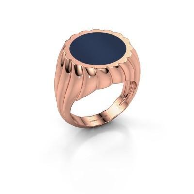 Zegelring Mano 375 rosé goud donker blauw lagensteen 13 mm
