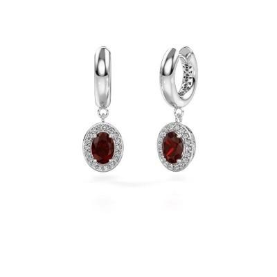 Picture of Drop earrings Annett 375 white gold garnet 7x5 mm