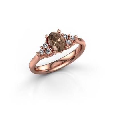 Foto van Verlovingsring Monika OVL 375 rosé goud bruine diamant 0.95 crt