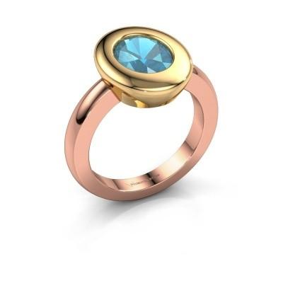 Ring Selene 1 585 rosé goud blauw topaas 9x7 mm