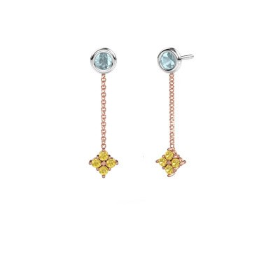 Drop earrings Ardith 585 rose gold yellow sapphire 2 mm