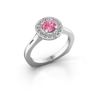 Ring Kanisha 1 925 zilver roze saffier 5 mm
