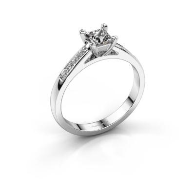 Engagement ring Nynke SQR 585 white gold zirconia 4 mm