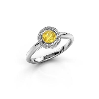 Foto van Promise ring Noud 1 RND 585 witgoud gele saffier 4.7 mm