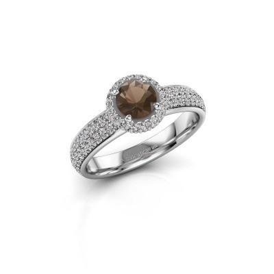 Engagement ring Mildred 925 silver smokey quartz 5 mm