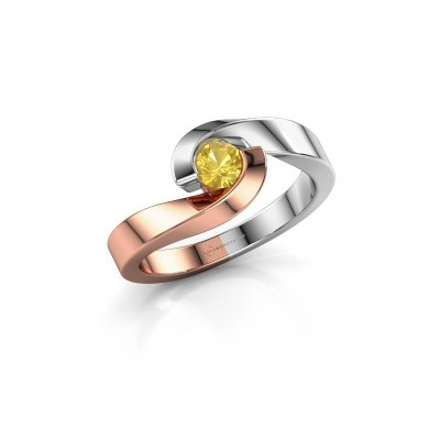 Foto van Ring Sheryl 585 rosé goud gele saffier 4 mm