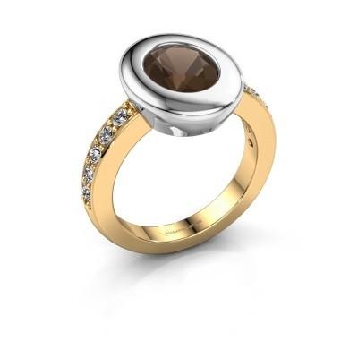 Ring Selene 2 585 gold smokey quartz 9x7 mm