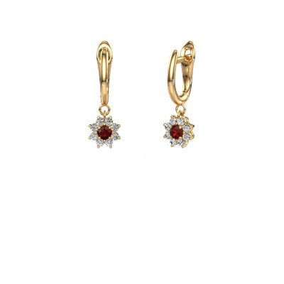 Drop earrings Camille 1 375 gold garnet 3 mm