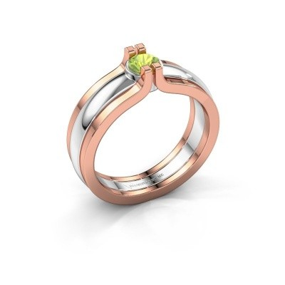 Foto van Ring Jade 585 witgoud peridoot 4 mm