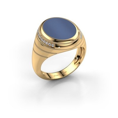 Picture of Signet ring Luuk 585 gold blue sardonyx 15x12 mm