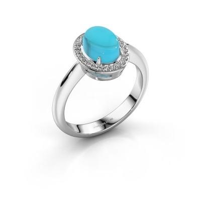 Ring Kristian 950 platina blauw topaas 8x6 mm
