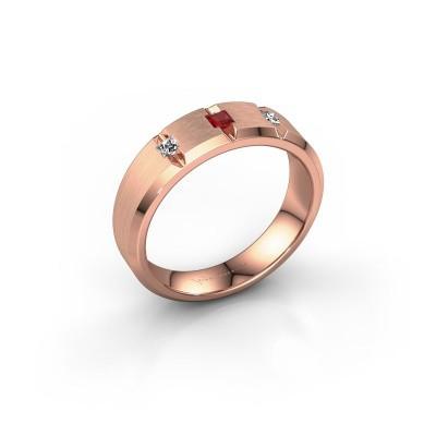 Mannen ring Justin 375 rosé goud robijn 2.5 mm