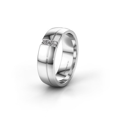Wedding ring WH0223L56A 585 white gold zirconia ±0.24x0.07 in