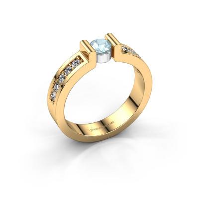 Verlovingsring Isabel 2 585 goud aquamarijn 4 mm