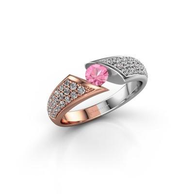 Foto van Verlovingsring Hojalien 3 585 rosé goud roze saffier 4.2 mm