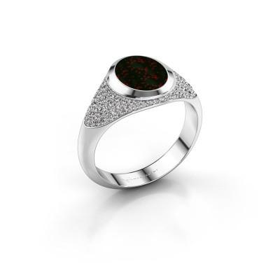 Signet ring Susana 950 platinum bloodstone 10x8 mm