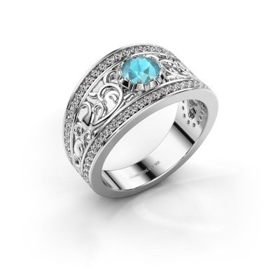 Foto van Ring Marilee 925 zilver blauw topaas 5 mm