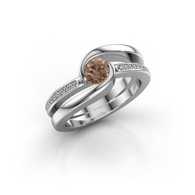 Foto van Ring Xenia 2 375 witgoud bruine diamant 0.60 crt