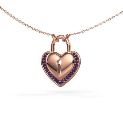 Halsketting Heartlock 375 rosé goud saffier 1 mm