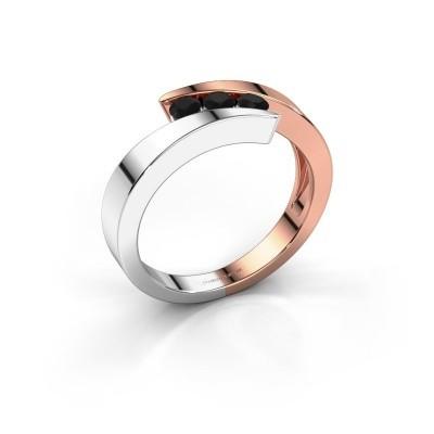 Foto van Ring Gracia 585 rosé goud zwarte diamant 0.288 crt
