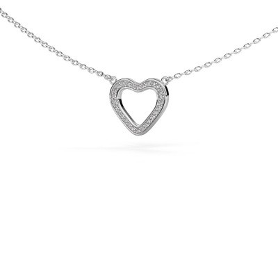 Photo de Pendentif Heart 3 585 or blanc diamant 0.07 crt
