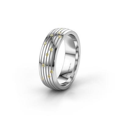 Trouwring WH0150L26A 925 zilver gele saffier ±6x1.7 mm