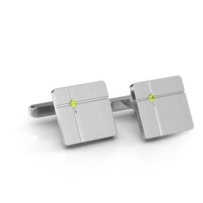 Picture of Cufflinks Hilco 925 silver peridot 2 mm