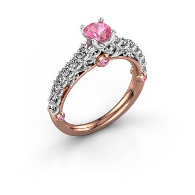 Foto van Verlovingsring Shaunda 585 rosé goud roze saffier 5 mm