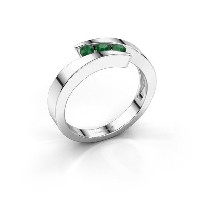 Foto van Ring Gracia 585 witgoud smaragd 2.7 mm