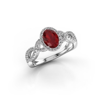 Engagement ring Dionne ovl 925 silver ruby 7x5 mm